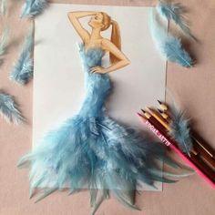Diseños de moda de plumas azul clara del ilustrador: Edgar_artis