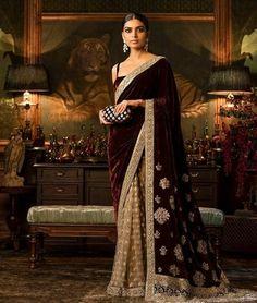 These Sabyasachi Saree are stunning in the designer saree spectrum! Find more Sabyasachi saree, Sabyasachi Lehenga and Sabyasachi Dress on Happy Shappy Indian Dresses, Indian Outfits, Eid Outfits, Sabyasachi Dresses, Anarkali Suits, Punjabi Suits, Velvet Saree, Reception Sarees, Elegant Saree