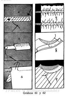 Forma de hacer el bies para remate de cuellos y cosido de botones, cierres y corchetes. La forma de preparar un cordón para remate de cuello se hace de la