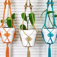 Jute Hanging Planter, Macrame Pot Holder, Shabby Chic Housewarming Gift, Hippie Gardening, Plant Hanger, Turquoise, Orange