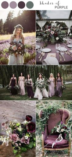 2019 Brides Favorite Purple Wedding Colors---purple and mauve outdoor woodland wedding for fall, wedding centerpieces, wedding bouquets, Wedding Centerpieces, Wedding Bouquets, Wedding Decorations, Wedding Dresses, Bridesmaid Dresses, Vintage Wedding Colors, Fall Wedding Colors, Burgundy Wedding, Vintage Theme