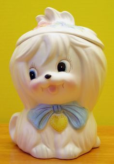 Vintage White Lefton Toodles Maltese Cookie Jar 3236