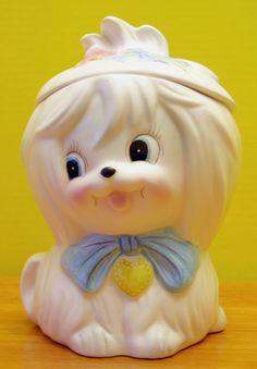 Vintage White Lefton Toodles Maltese Cookie Jar 3236