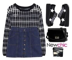 """Newchic~Black&white with a little denim"" by gabygirafe ❤ liked on Polyvore featuring Christian Dior"