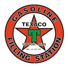 Texaco Gasoline Filling Station Round Retro Vintage Tin Sign