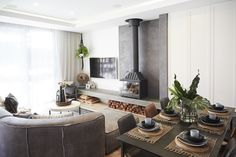 The Block series week 5 living/dining reveals - The Interiors Addict Cosy Interior, Interior Design, Interior Styling, The Block Room Reveals, Living Area, Living Room, Ideas Hogar, Fireplace Design, Fireplace Ideas