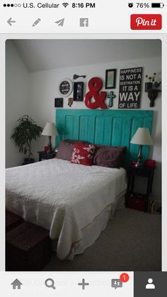 repurposed door to headboard. Love red and turquoise; and I also just really enjoy the layout of the decorations Old door headboard Headboard From Old Door, Headboard Door, Headboard Ideas, Master Bedroom, Bedroom Decor, Bedroom Ideas, Wall Decor, Design Bedroom, Home Interior