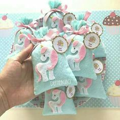 Decorate bags from Oriental Trading with unicorns