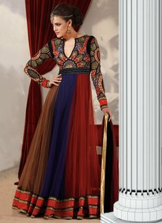 Could be pretty, or could be too much--Scintillating Net Floor Length Anarkali Suit