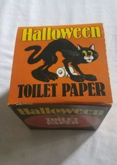 Vintage-HALLOWEEN-Toilet-Paper-IVORY-TOWER-publishing-Black-Cat-Dracula-BOO-L-K