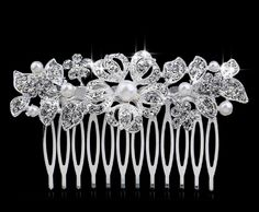 TREAZY Beautiful Floral Wedding Hair Jewelry Silver Plated Imitated Pearl Crystal Bridal Hair Combs for Women Hair Accessories Bridal Hair Pins, Hair Comb Wedding, Floral Wedding Hair, Butterfly Wedding, Wedding Dress, Hair Accessories For Women, Jewelry Accessories, Jewelry Sets, Hair Jewelry