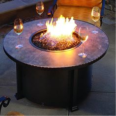 Fire Glass O.W. Lee Santorini Chat Fire Pit Table | WoodlandDirect.com: Outdoor Fireplaces, Fire Pits - Gas, Fire Pit Tables