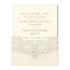 Pearled Lace Cut Wedding Invitations