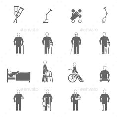 Disabled People Icons Set — Vector EPS #limbs #network • Available here → https://graphicriver.net/item/disabled-people-icons-set/13157811?ref=pxcr