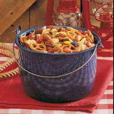 Happy Trails Snack Mix Recipe -Kids and adults at our cowboy party really dug into this colorful snack mix. Both salty and sweet, it has an appealing assortment of pretzels, cereal, dried fruits and candies. Trail Mix Recipes, Snack Mix Recipes, Recipes Appetizers And Snacks, Party Snacks, New Recipes, Favorite Recipes, Birthday Snacks, Snack Mixes, Easy Recipes
