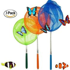 TOMYEER 6 Pack Butterfly Nets Kids Telescopic Catching Insects Bugs Fishing Nets