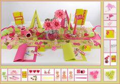 Tischdeko Taufe 7 in Kiwi/Pink als Mustertisch - Tafeldeko.de