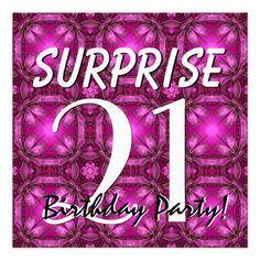21st SURPRISE Birthday Magenta and Purple for Her Invite  #jaclinart #invitation #favor #surprise #birthday #invites #21stBirthday
