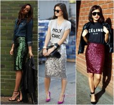 I love pencil skirt, I think one of the most chic models in a female wardrobe . Modest Fashion, Love Fashion, Fashion Looks, Womens Fashion, Fashion Trends, Sequin Pencil Skirt, Pencil Skirt Outfits, Sequin Skirt Outfit, Pencil Skirts
