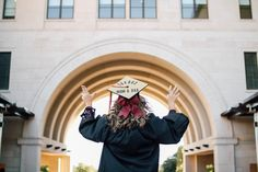 Graduation should be celebrated as the day of success, a long and challenging process. College Graduation Pictures, Grad Pics, High School Graduation, Graduation Ideas, Texas State University, Graduation Balloons, Graduation Portraits, Senior Girls, Photo Poses