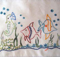 Peixinhos bordado livre