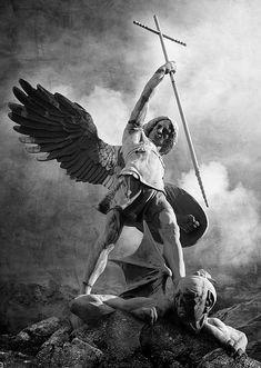 Angels Christian Art - Archangel Michael by Marc Huebner St. Michael Tattoo, Archangel Michael Tattoo, Religious Tattoos, Religious Art, Saint Michael Statue, St Micheal, Michael Art, Rabe Tattoo, Kunst Online