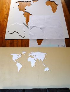 A simple diy world map wall art that is perfect for a clean yet diy world map wall art made with foam board plus pins on where we have visited solutioingenieria Images