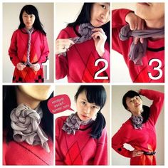 Knot Just A Scarf Tutorial #67: Rosette Choker. If you're ever cooking spring onion coils you should use the same technique to get the folds :P that's where I got the idea from! #fashion #scarf