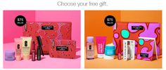 It's gift time at Clinique US and CA websites. The more you spend the more freebies you get.