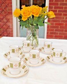 Spode bone china England (Persia  8018) vintage coffee set .Green / gold perfect #spode #vintage #china #porcelain #coffee