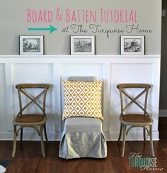 Love how this defines the room and gives character to the large, open space! Board and Batten Tutorial | TheTurquoiseHome.com
