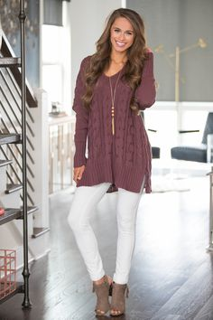 Frozen In Time Sweater Dark Purple - The Pink Lily