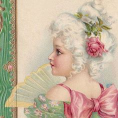 Sweet little 'French Girl' with Fan & pink bow - by Brundage perhaps? - digital image for sale