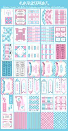 Carnival Circus Party Printables - Pink/Aqua