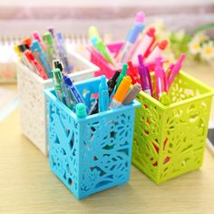 Stick On Desktop Pencil Box Makeup Storage Brush Pot Pen Holder Plastic Office Desk Organizer Stationery Bright Luster Desk Accessories & Organizer