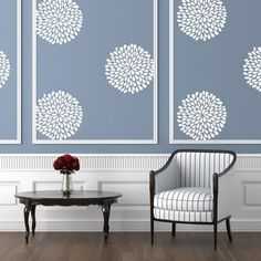 White vinyl flower wall pattern on a blue wall above a vintage chair and table. Polka Dot Wall Decals, Polka Dot Walls, Flower Wall Decals, Vinyl Wall Stickers, Window Decals, Polka Dots, Living Room Colors, Living Room Art, Art Pour Salon