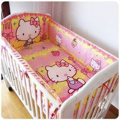 42.80$  Buy now - http://alionk.worldwells.pw/go.php?t=32522688879 - Promotion! 6PCS Hello Kitty baby cot bedding set crib bedding set cartoon baby crib set (bumpers+sheet+pillow cover)