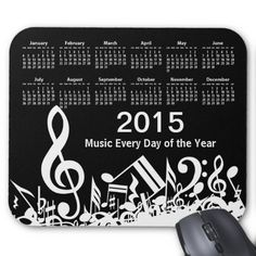 "Music Every Day of the Year is the theme of this 2015 calendar mousepad with a musical design featuring jumbled music notes and a large treble clef in white on a black background. The text is fully customizable to suit your own needs or can be kept with the saying ""Music Every Day of the Year. Perfect for the music student, music teacher or musician and would make a great promotional item for your music business. If you would like this design in a different color combination, please contact…"