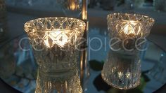 Cut Glass Clear Votive & Candle, for hire Table Centerpieces, Centrepiece Ideas, Silver Candlesticks, Gala Dinner, Table Centers, Vintage Theme, Wedding Table Settings, Centre Pieces, Votive Candles