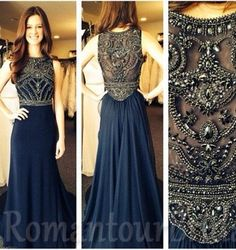 Long Prom Dress Navy Blue Prom Dress Long Ball Gown Beaded Prom DRess…