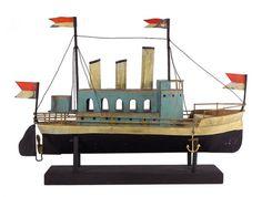 JACK SPADE, whittling, folk art, boat, wood, paint, naive