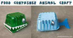Recycled Food Container Animal Craft ~ adorable #DIY toy