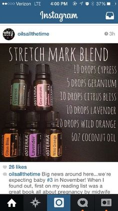 "doTERRA essential oils ""stretch mark blend"". #doterra Order at http://www.mydoterra.com/lindsayaldini/"