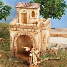 Fontanini Bethlehem Inn with Water Pump LED Nativity Village Figurine 55585 Bethlehem Inn, Fontanini Nativity, Putz Houses, Mini Houses, Ceramic Houses, Christmas Villages, Decorative Tile, Collectible Figurines, Miniture Things