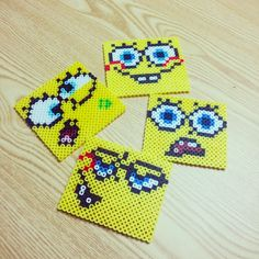 SpongeBob coasters perler beads by nnyung89