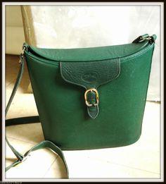 Sac besace bandoulière Longchamp Cuir vert vintage bag