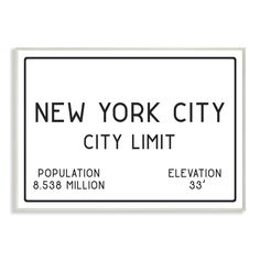 """Stupell Industries 10 in. x 15 in. """"""""NYC City Limit"""""""" by Daphne Polselli Printed Wood Wall Art, Multi-Colored Baby Wall Art, Wood Wall Art, Canvas Wall Art, Canvas Prints, Travel Wall Decor, San Francisco City, City Limits, Wood Print, Art Print"""