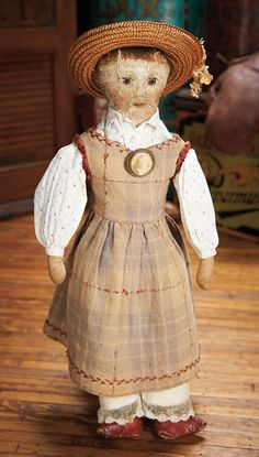 """Theriault's - American Cloth School Girl with Oil Painted Features, 16"""""""