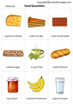 Kids Pages - Food Quantities