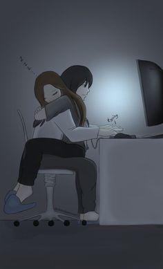 Cute Couple Drawings, Cute Couple Cartoon, Cute Couple Art, Anime Love Couple, Anime Couples Drawings, Romantic Anime Couples, Cute Lesbian Couples, Cute Anime Couples, Anime Couples Cuddling